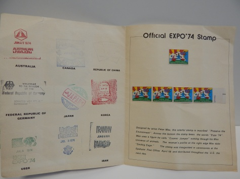Stamps Document Expo 74 inside - official Peter Max Stamp and exhibit stamps